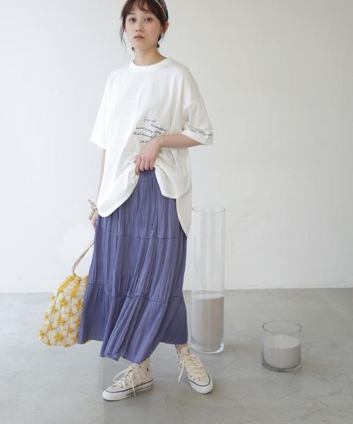 [Ray Cassin] 【WEB限定】サテン消しプリーツティアードスカート