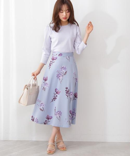[PROPORTION BODY DRESSING] <E>フラワープリントフレアスカート /