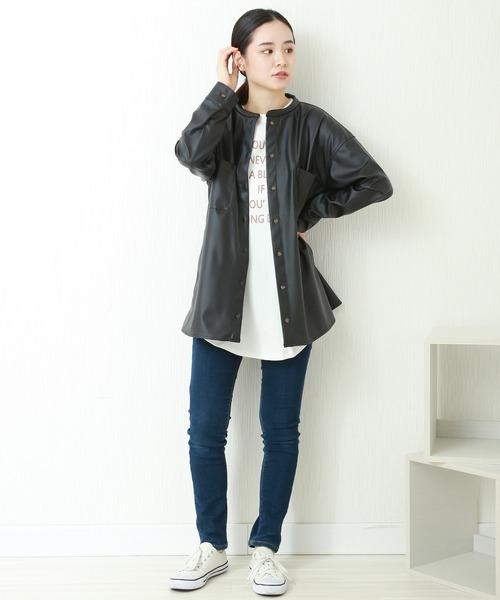 [MARLENE JOBERT] フェイクレザーノーカラーシャツジャケット