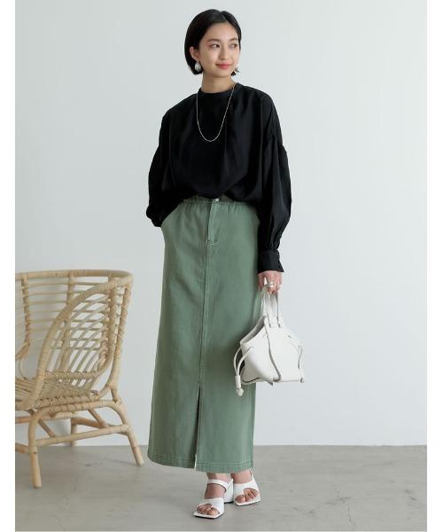 [Re:EDIT] [低身長サイズ有]カラーツイルスリットIラインスカート20