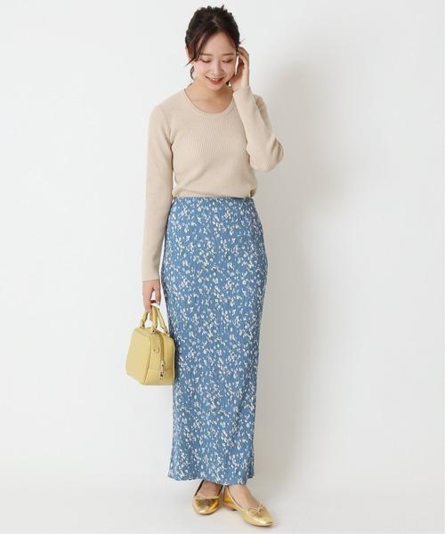 [Spick & Span] ストレッチフラワータイトスカート2◆