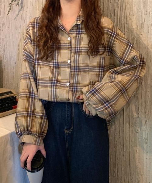 【ABITOKYO】ボリューム袖オーバーサイズチェックシャツ