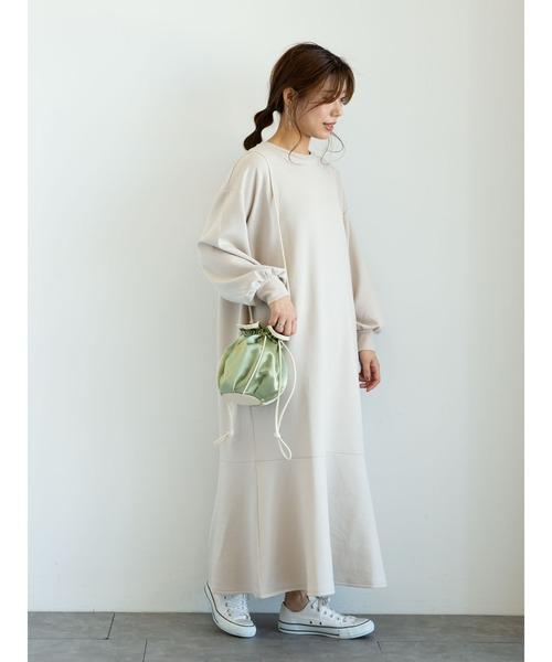 [Green Parks] ・サテンパイピング巾着ショルダーバッグ*