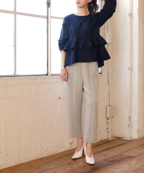 [GIRL] 裾フリルぺプラムデザイン長袖カットソー