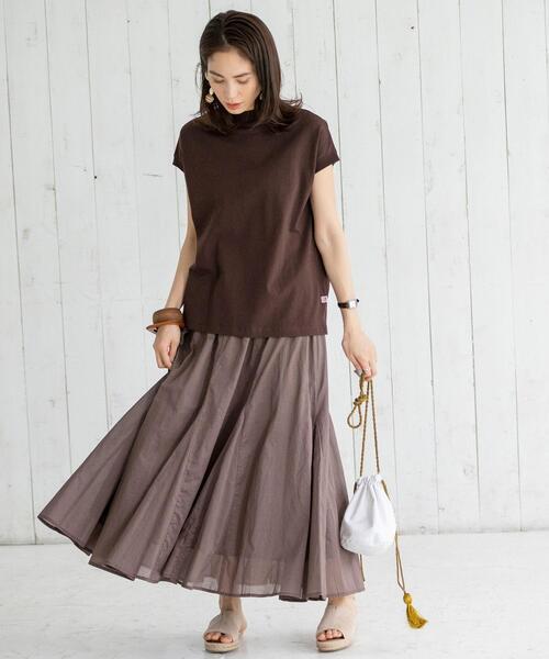 [coen] コットンボイルマキシギャザーフレアスカート#