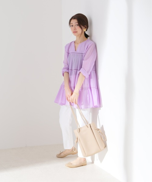 [IENA] 【MOI NON PLUS】COTTON VOILE TIERED ブラウス【洗濯機使用可】