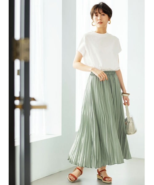 [GeeRA] 【21夏新着】サテンワッシャープリーツスカート