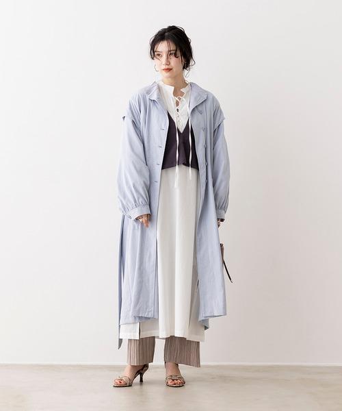 [Hunch] 無地 肩デザイン スタンドカラーコート