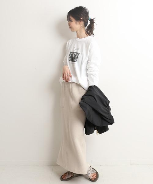 コットンWフェイスタイトスカート【手洗い可能/ウエストゴム】◆