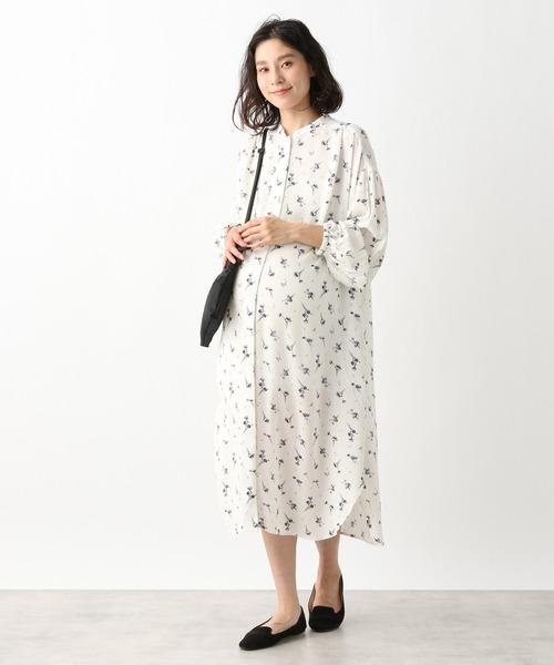 [LEPSIM] マタニティ/フラワーギャザーシャツワンピース 927863