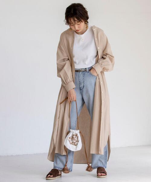 [coen] USAコットンマキシ丈タックシャツワンピース