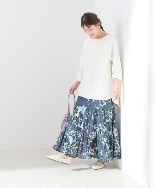 [IENA]【MOI NON PLUS】SHADOW BOTANICAL PRINT TIERスカート【洗濯機使用可】