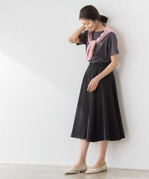 [Pierrot] フロントタックフレアスカート