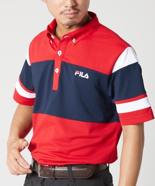 [OP/RUSTY/O'NEILL] 【FILA:フィラゴルフ】メンズ ブロック切り替え 半袖ボタンダウンポロシャツ | 吸汗速乾/UVカット