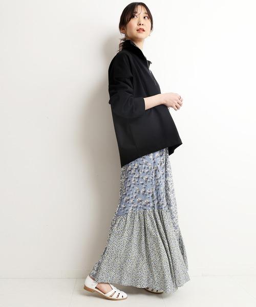 [IENA] Deveaux マルチパターンスカート【ウエストゴム/手洗い可能】◆