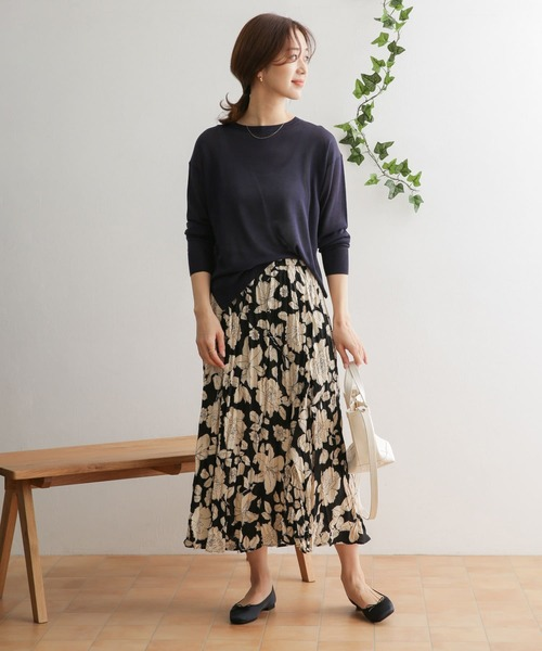 [URBAN RESEARCH DOORS] 【WEB限定】花柄ワッシャープリーツスカート