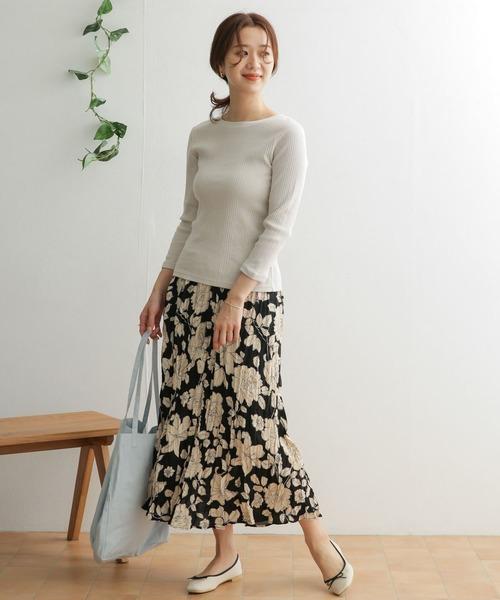 【WEB限定】花柄ワッシャープリーツスカート