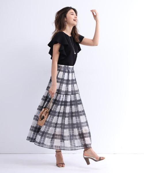 [Apuweiser-riche] シアーチェックプリーツスカート