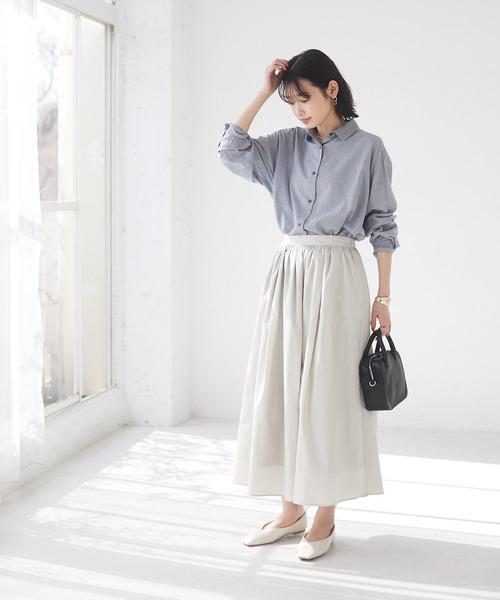 綿レーヨンレギュラーカラーシャツ *◇