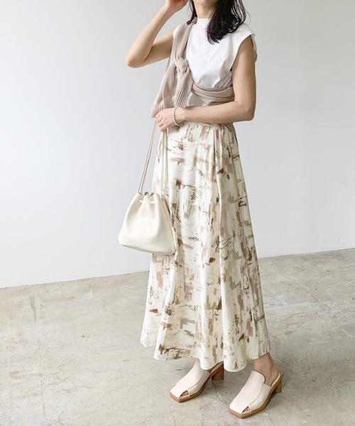 [Lian] 水彩柄ロングスカート