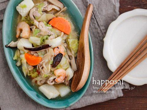 八宝菜、白菜、きのこ、エビ、イカ、シーフード、にんじん、玉ねぎ。