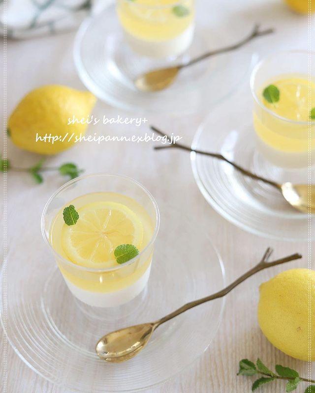 レモン、シロップ煮、ミント、杏仁豆腐、冷たい、デザート、