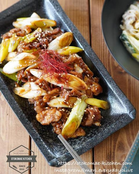 豚切り落とし肉と長ねぎの麻辣炒め