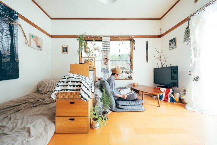 ワンルームのお部屋を家具で仕切った配置