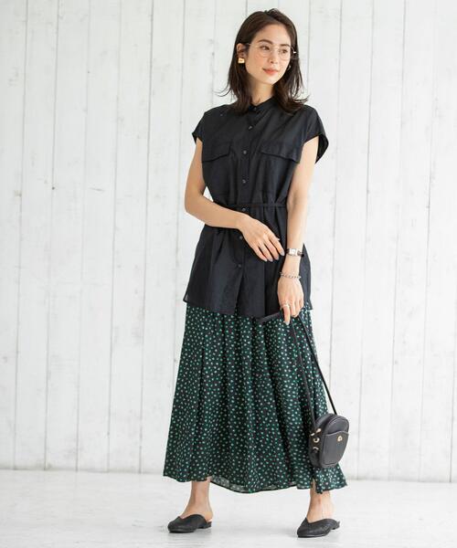 [coen] インドコットンショートスリーブバンドカラーシャツ#(フレンチスリーブ/チュニック)
