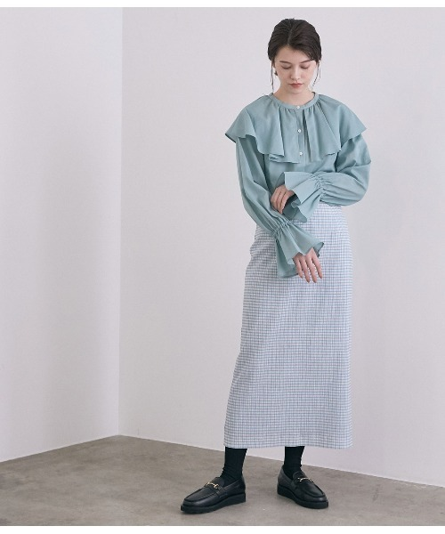 [ROPE'] ギンガムチェックストレートロングスカート