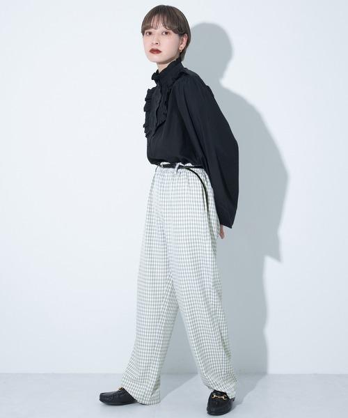 [kutir] 【全ゴムで履きやすい】ギンガムチェックパンツ