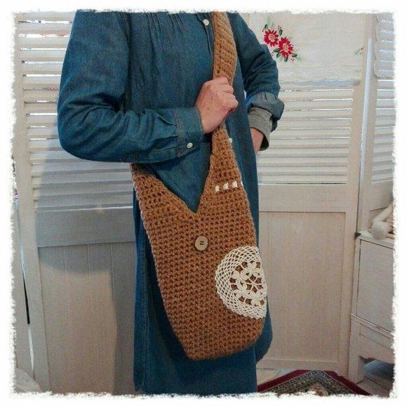 大容量なショルダーバッグの編み方