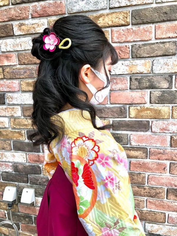 着物のミディアム髪型2