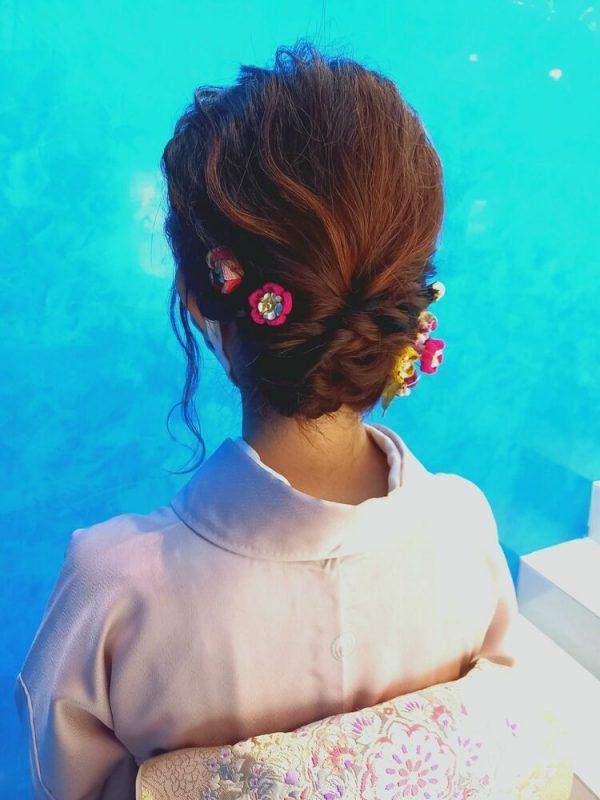 着物のミディアム髪型12