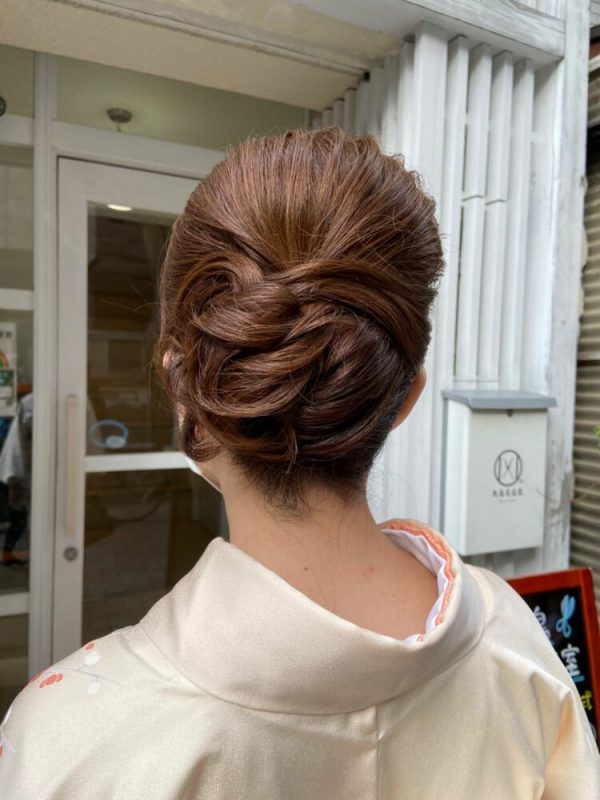 着物のミディアム髪型6
