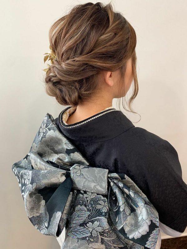 着物のミディアム髪型14