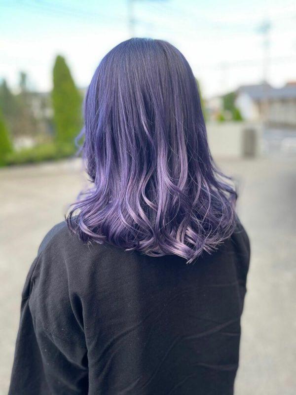 紫系ラベンダーグラデーションのセミロング
