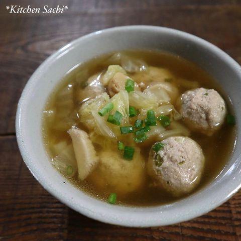 白菜とエリンギの肉団子スープ