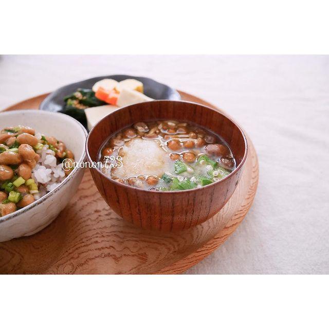 ネバネバ野菜と大根おろしの味噌汁