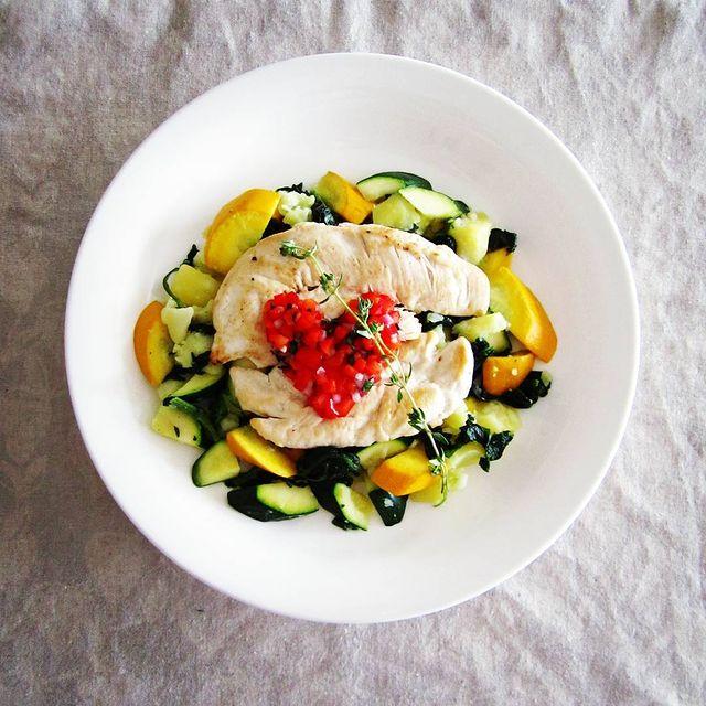 夏野菜と鶏ササミのソテー