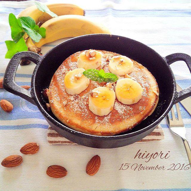 大満足♪バナナ入り蒸し焼きパンケーキレシピ