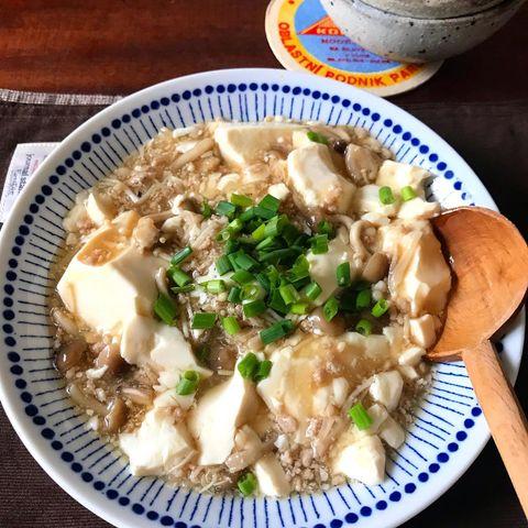人気の献立!豆腐ときのこのそぼろ煮