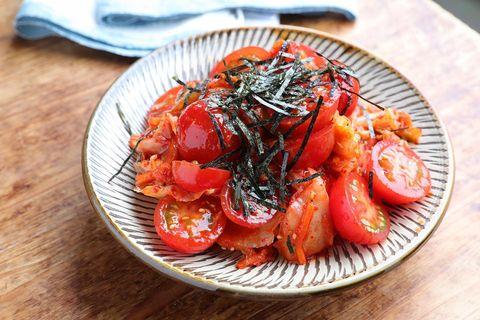 和えるだけの簡単副菜!ミニトマキムチレシピ