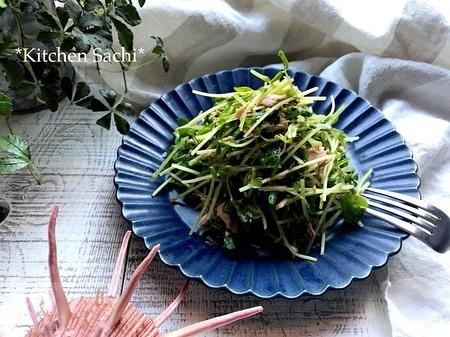 豆苗とツナの胡麻サラダ