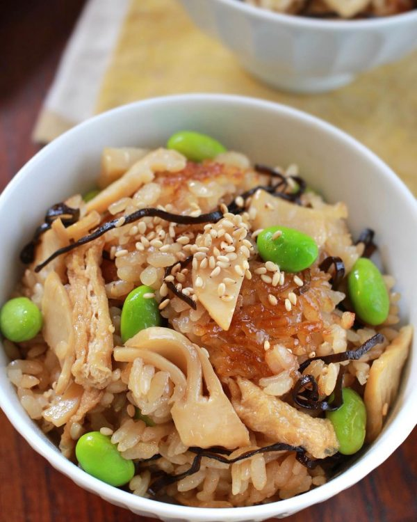筍と枝豆の塩昆布炊き込みご飯4