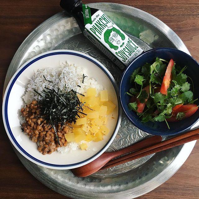 具沢山♡たくあんとしらすの納豆ご飯レシピ