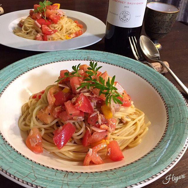 トマトとツナとハムの冷製パスタ