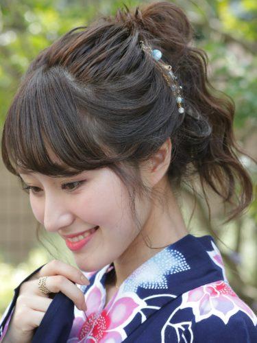 着物のミディアム髪型10