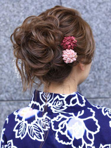 着物のミディアム髪型9