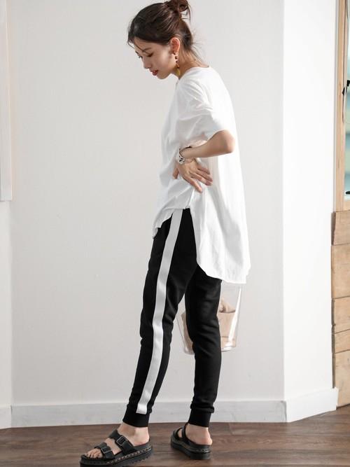 [Classical Elf] 無地ロング丈キーネックビッグシルエットTシャツ(半袖)